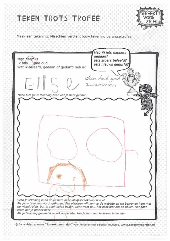 Teken Trots Trofee Therapie Voor Kinderen Met Selectief