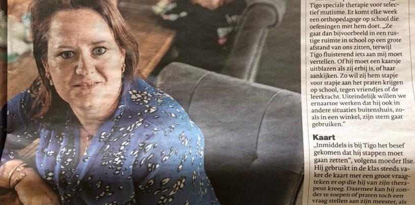 Artikel Brabants Dagblad – Tigo (10) heeft nog nooit gepraat in de klas